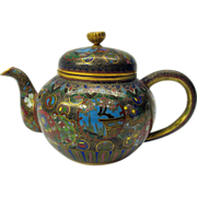 Masterful antique Japanese cloisonne miniature teapot