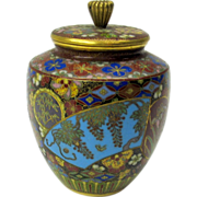Masterful antique Japanese cloisonne miniature pot or jar