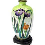 Signed Japanese miniature foil cloisonne vase with iris