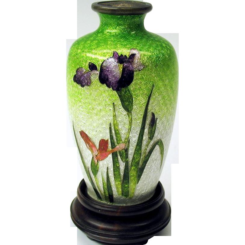 Antique Japanese Toy Miniature Foil Cloisonne Vase 3 Purple Iris