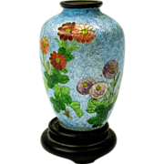 "True toy Japanese silver foil cloisonne vase 2 3/8"" signed"