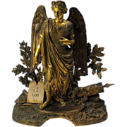 Big early finest gilded bronze Angel clock top statue