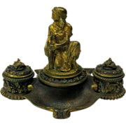 Antique signed figural French gilded bronze inkwell