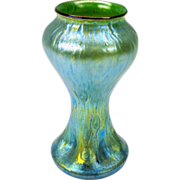 Vintage thickly iridescent Loetz Austrian art glass vase