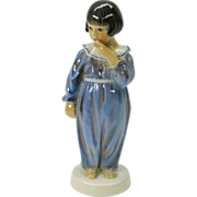 Dahl Jensen figure Art Deco girl in blue pajamas
