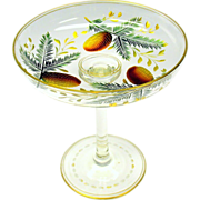 Stevens and Williams pine cone engraved color gilded glass compote