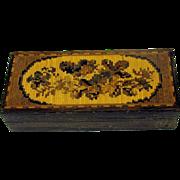 Long antique Tunbridge ware floral stamp box