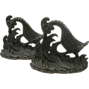 Big Deco bronze caricature Bird bookends for child's books