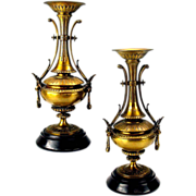 Pair Egyptian Revival gilded bronze garniture vases