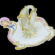Antique KPM porcelain figural match holder chamber stick form