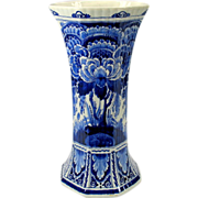 Large hexagonal Porcelaine de Fles Dutch Delft vase 13 1/2""