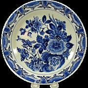 Vintage Porcelaine de Fles Dutch Delft wall plate florals
