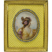 French signed Art Nouveau portrait miniature in jeweled frame