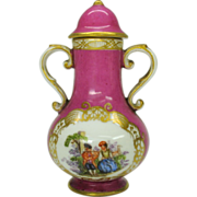 Antique Meissen porcelain miniature lidded urn