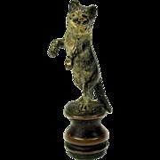 Antique Vienna bronze figural CAT wax seal