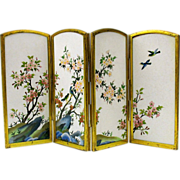 Miniature Ando Inaba Japanese cloisonne folding screen