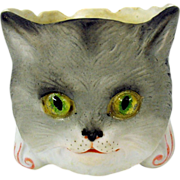 Rare German bisque glass eyed Cat match holder companion to fairy Lamp