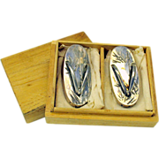 Vintage Japanese sterling silver figural wedge flip flop Salt & Pepper shakers boxed