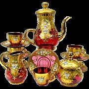 Vintage 17 piece enameled cranberry glass tea set