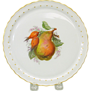 Hand painted KPM cabinet plate featuring a PEAR 8""