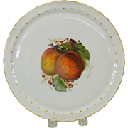 Hand painted KPM cabinet plate featuring a PEACH 8""