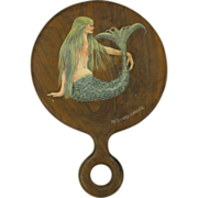 Original painting of a Mermaid on round hand mirror Richard Sparre Cape Cod