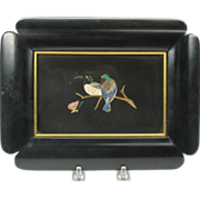 Framed antique Pietra Dura inlaid stone plaque of two Lovebirds