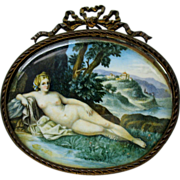Hand painted portrait miniature of a classical Nude with bronze table top frame