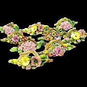 Set 9 large antique German porcelain Botanical Menu place card holders florals - Red Tag Sale Item