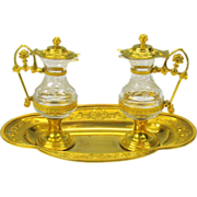 Finest 19th Century gilded bronze Ecclesiastical engraved glass cruet set