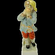 "Small cabinet sized vintage KPM porcelain figure of a Winter boy 4 1/2"""