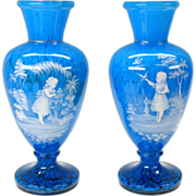Amazing pair 19th Century aqua blue cased glass Mary Gregory vases facing pair
