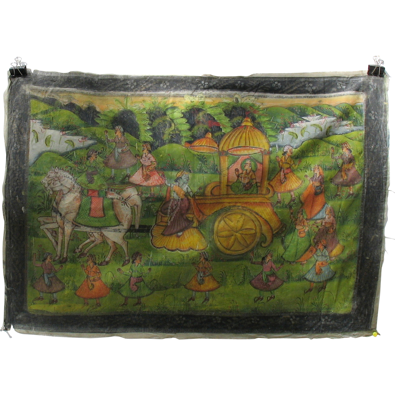 Antique indian hand painted silk temple wall hanging horses and from quirkyantiques on ruby lane