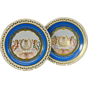 """Pair of early Sevres porcelain cabinet plates 9 1/2"""" with Cherubs"""