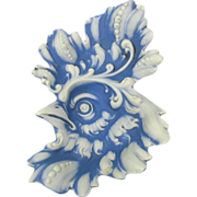Antique Schafer Vater German bisque Rooster or Cock dish pin tray in blue & white jasper