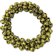 Antique miniature wreath or circlet of gilded metal bells
