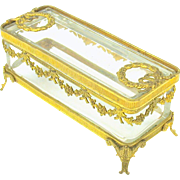 Grand Tour French gilt bronze and crystal earring dresser box