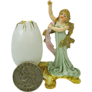 Great quality antique miniature German bisque Art Nouveau Lady dolls house vase