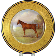 1920's Lenox commissioned hand painted Horse cabinet plate signed W. H. Morley