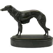 Superb Art Deco Austrian bronze Borzoi Russian Wolfhound dog statue by listed artist