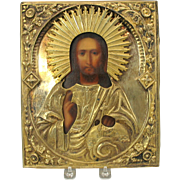 "Early Russian Icon painted and gilded silver  10"" by 8"""