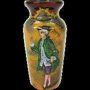 """Limoges enamel portrait cabinet vase 3"""" tall artist signed"""