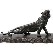 "Best Japanese Meiji period 20"" bronze Tiger with base artist signed"