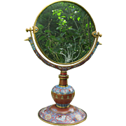 "Antique elaborate Chinese cloisonne dressing table vanity mirror 21"" tall"