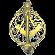 Antique bronze figural Masonic door knocker