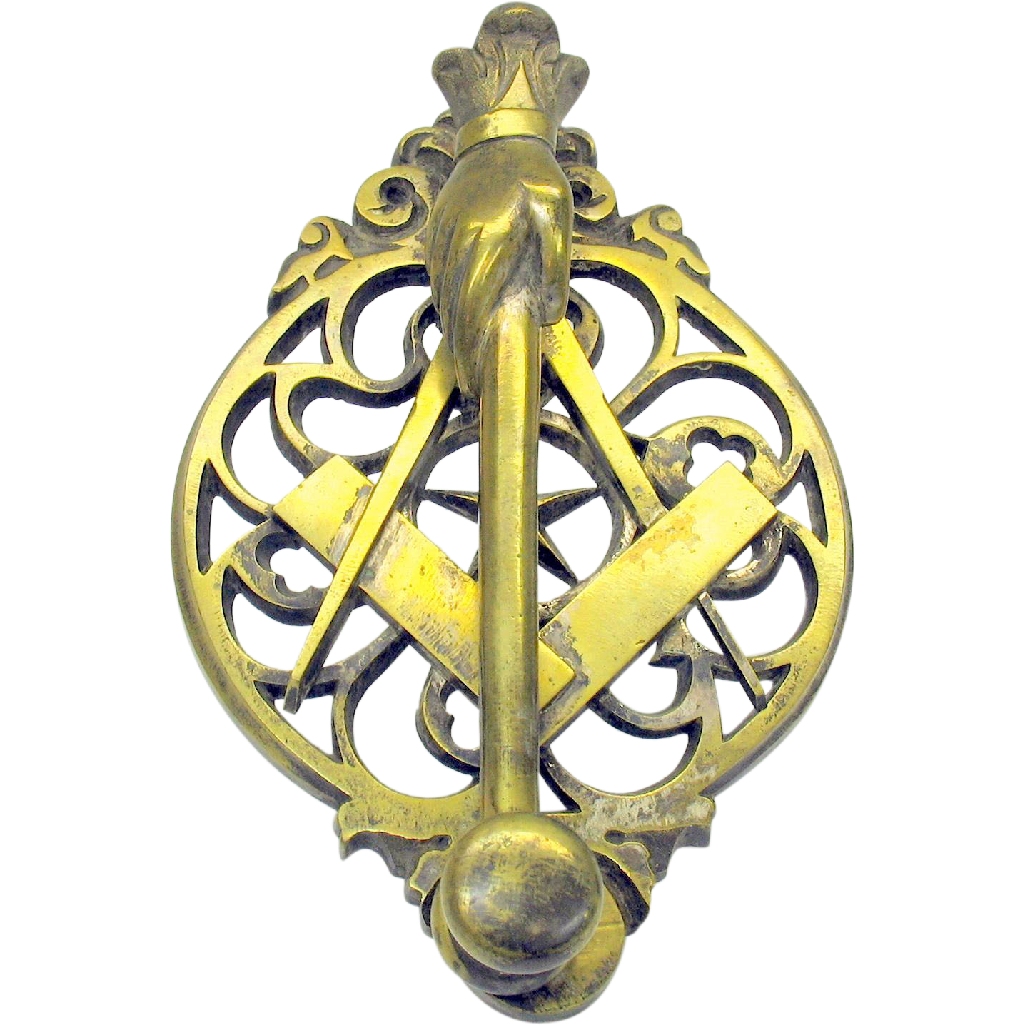 Antique bronze figural masonic door knocker from rubylane sold on ruby lane - Antique bronze door knocker ...
