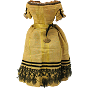 """Fine antique yellow silk & black Fashion or wax doll dress outfit for 12"""" doll"""