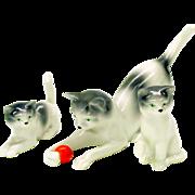 3 piece Erphila Germany porcelain cat figure-Mommy cat & 2 kittens