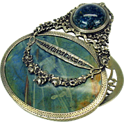 Magnificent 1880's French silver & blue stone fancy letter or paper clip
