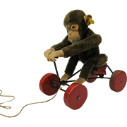 Vintage Steiff Record Peter Jocko monkey on bicycle toy